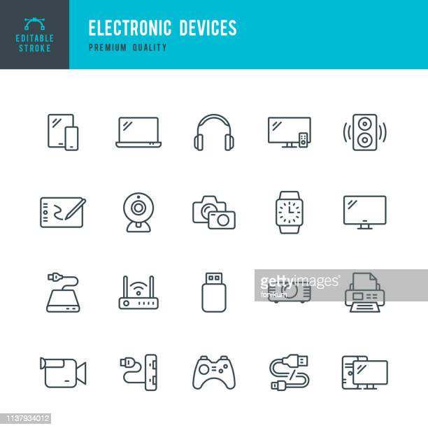 electronic devices - set of thin line vector icons - wireless technology stock illustrations