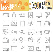 Electronic devices thin line icon set, media symbols collection, vector sketches, logo illustrations, digital signs linear pictograms package isolated on white background, eps 10.