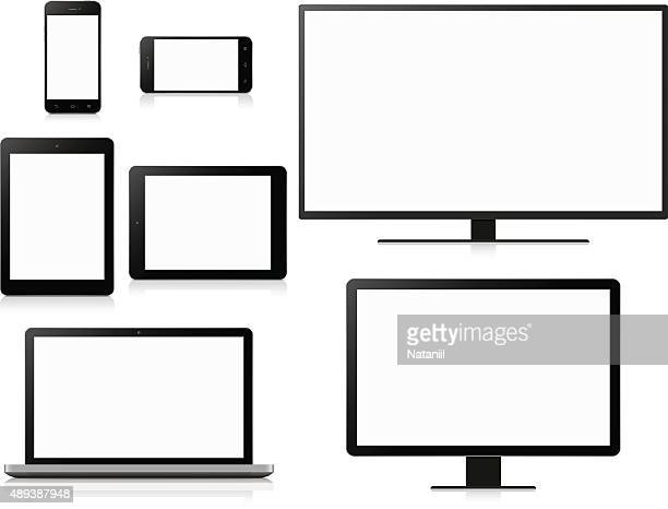 electronic devices with blank screens - vertical stock illustrations