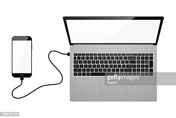 electronic devices with blank screens - usb cord stock illustrations, clip art, cartoons, & icons