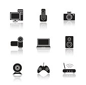 Electronic equipment drop shadow icons set