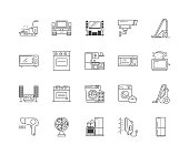Electronic equipment line icons, signs, vector set, outline illustration concept