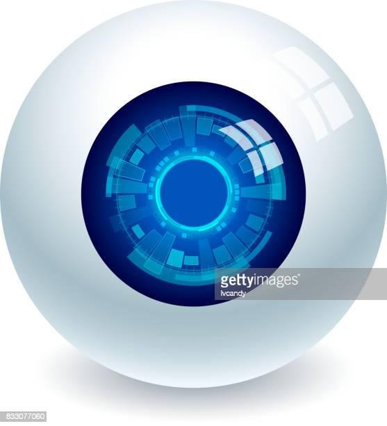 ilustrações, clipart, desenhos animados e ícones de eletrônico de olhos - olho