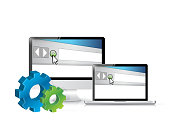 electronic Gears symbol browser illustration design over white