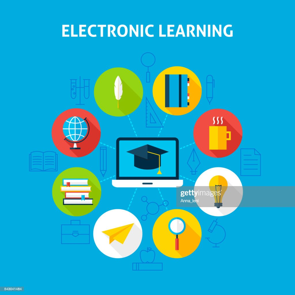 Electronic Learning Infographic Concept