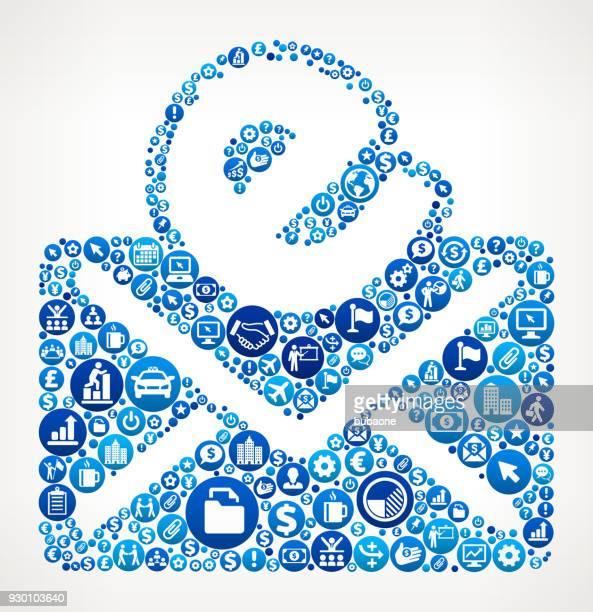 stockillustraties, clipart, cartoons en iconen met e-business and finance blauwe pictogram patroon - e mail
