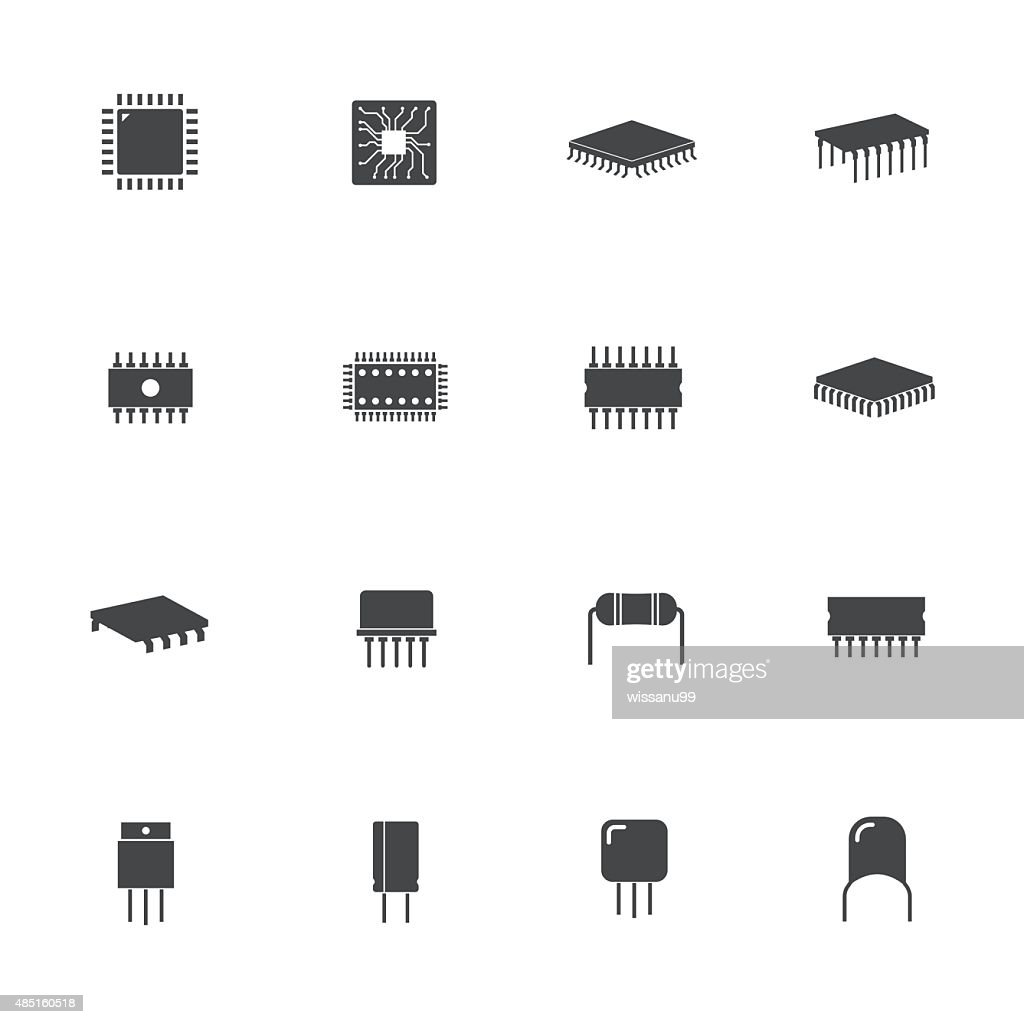 Electronic microchip components icons