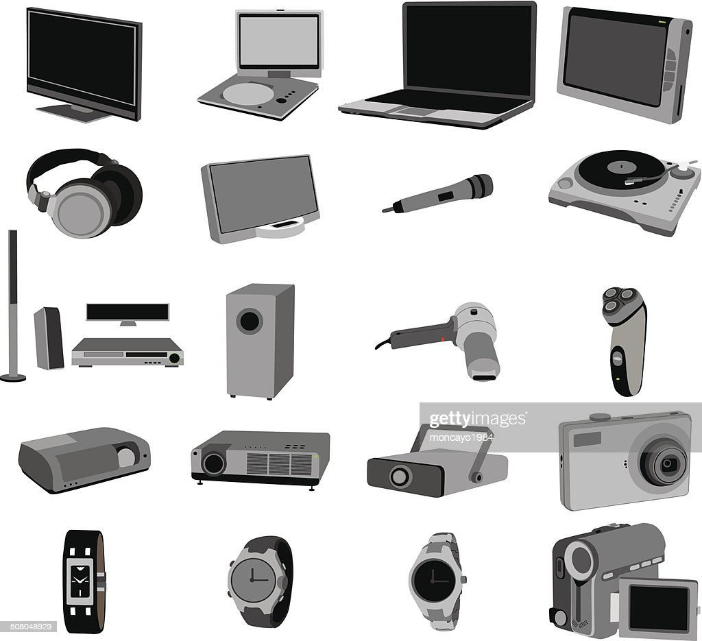 electronic objects devices set illustration vector