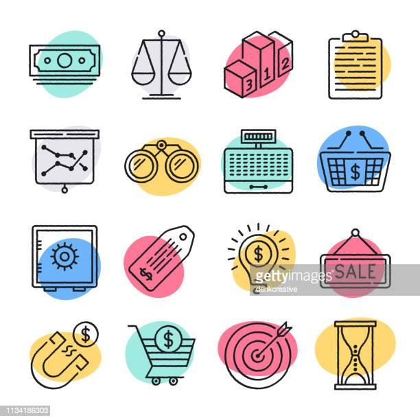 illustrations, cliparts, dessins animés et icônes de électronique shopping & merchandising doodle style vector icon set - ��couter