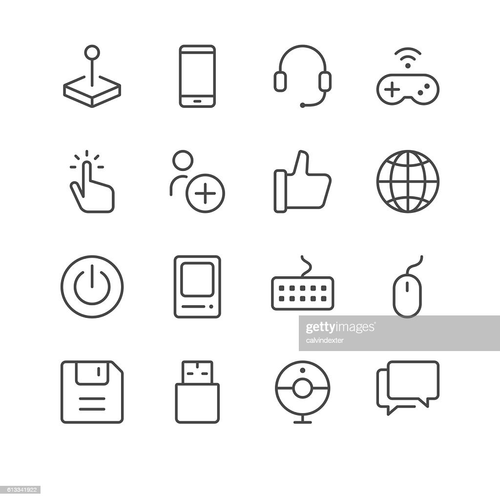Electronic sports and video games icons set 1 : stock illustration