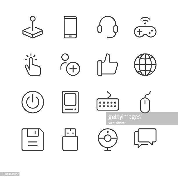 electronic sports and video games icons set 1 - start button stock illustrations, clip art, cartoons, & icons