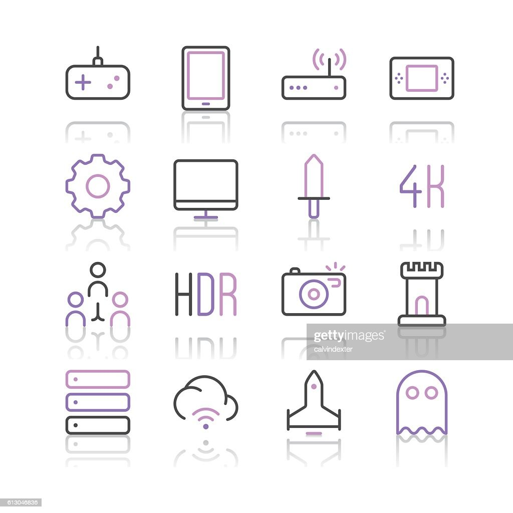 Electronic Sports and Video Games icons set 2 : stock illustration