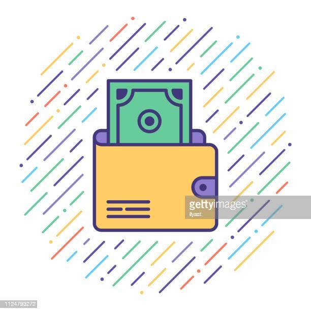 electronic transaction wallet flat line icon illustration - fee stock illustrations