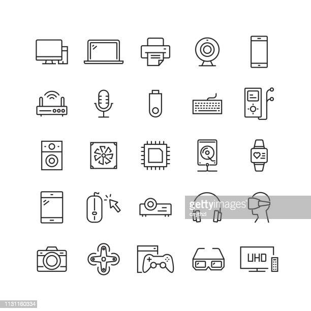 electronics and computer devices related vector line icons - electronics industry stock illustrations