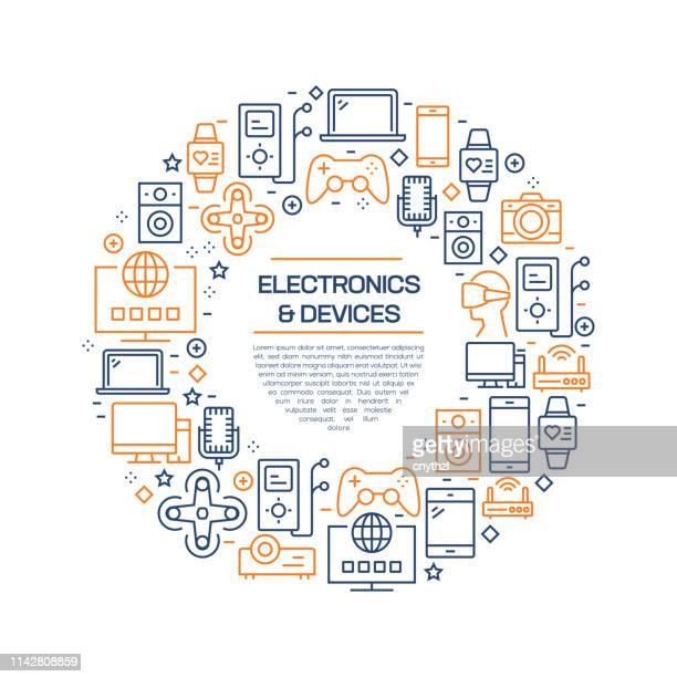 Conceito da eletrônica e dos dispositivos-linha colorida ícones, arranjados no círculo
