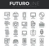 Electronics and Devices Futuro Line Icons Set