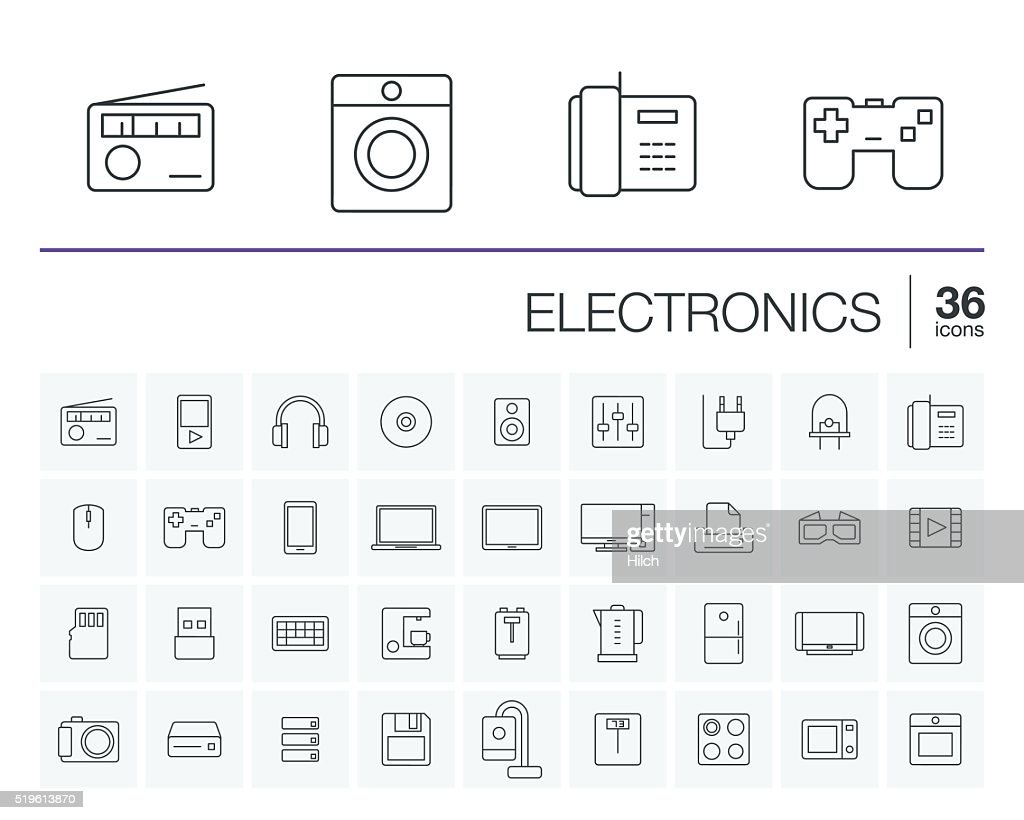 electronics and multimedia vector icons