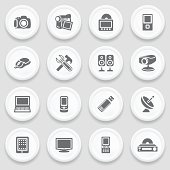 Electronics black icons on with buttons.