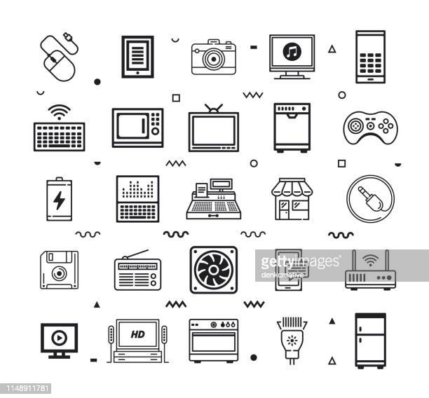 Electronics & Home Appliances Line Style Vector Icon Set