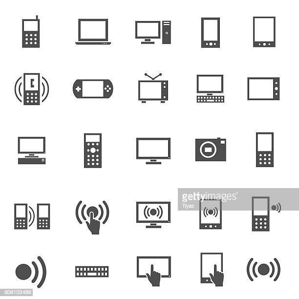 electronics icon set - wide screen stock illustrations