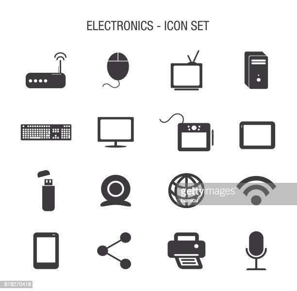 electronics icon set - usb cord stock illustrations, clip art, cartoons, & icons