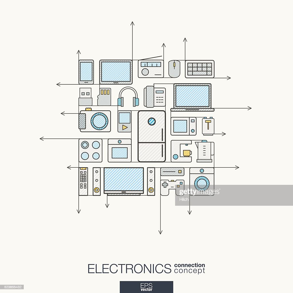 Electronics integrated thin line symbols. Modern color vector concept