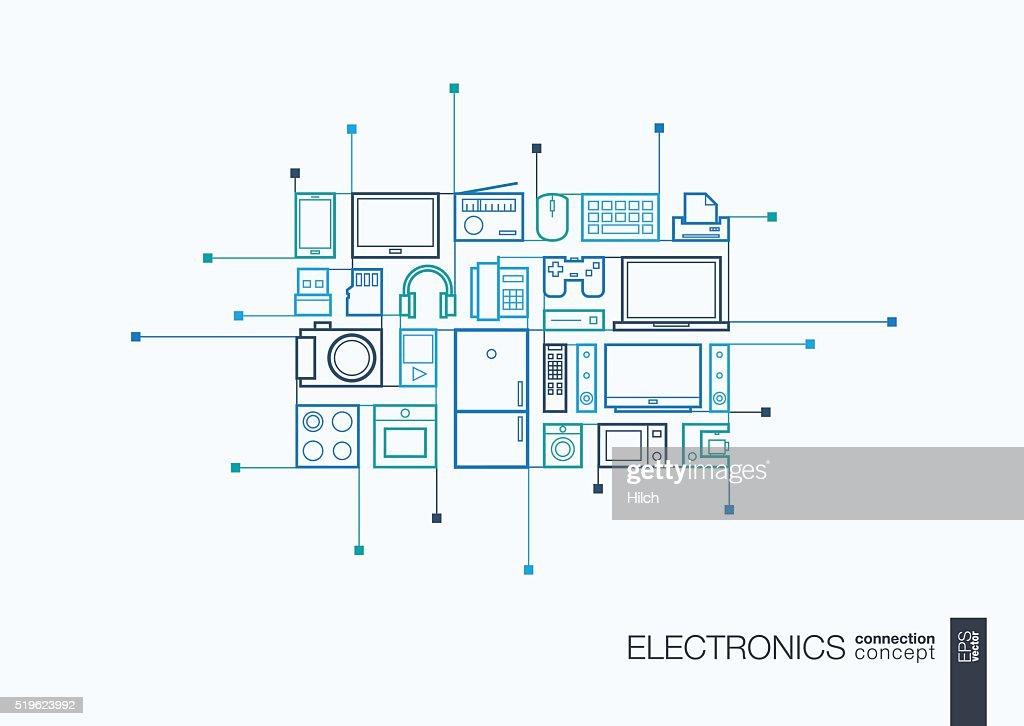 Electronics integrated thin line symbols