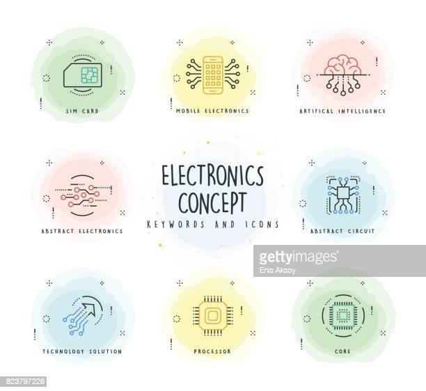 Electronics Line Icon Set with Watercolor Patch