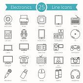 25 Electronics Line Icons
