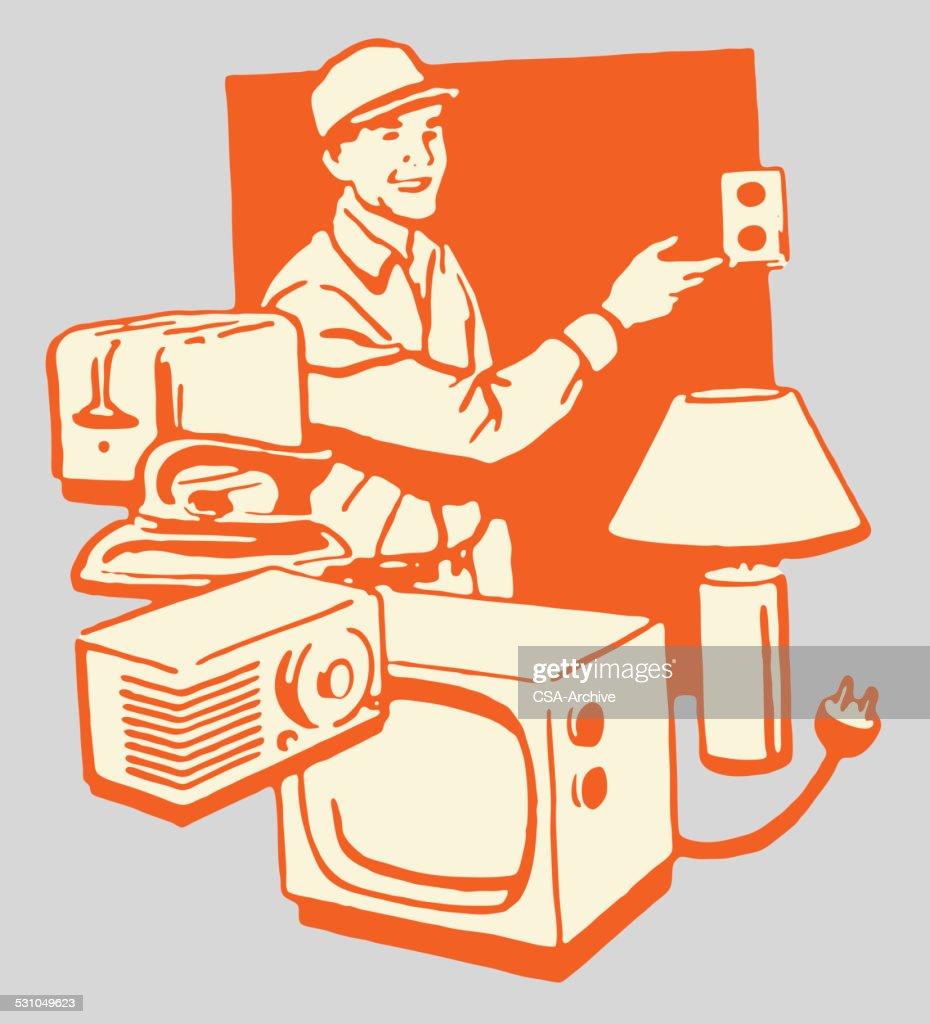 Electronics Repairman and His Work : stock illustration