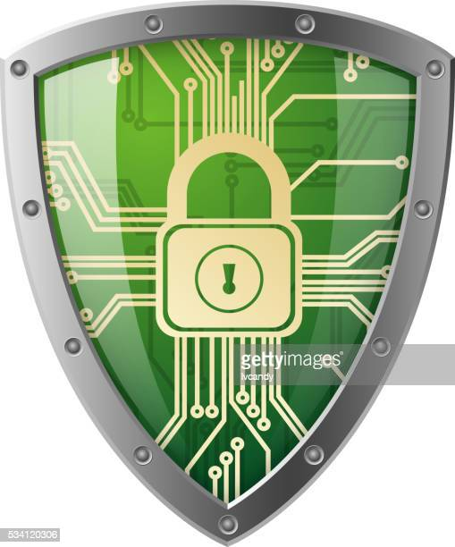 electronics shield - cyborg stock illustrations, clip art, cartoons, & icons