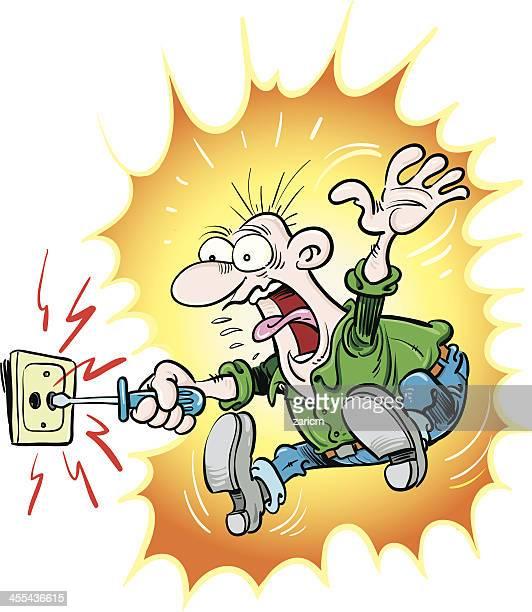 ilustraciones, imágenes clip art, dibujos animados e iconos de stock de electroshock - electricista