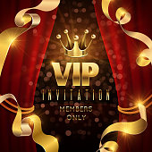 Elegance and exclusive party vector invitation with golden luxury crown