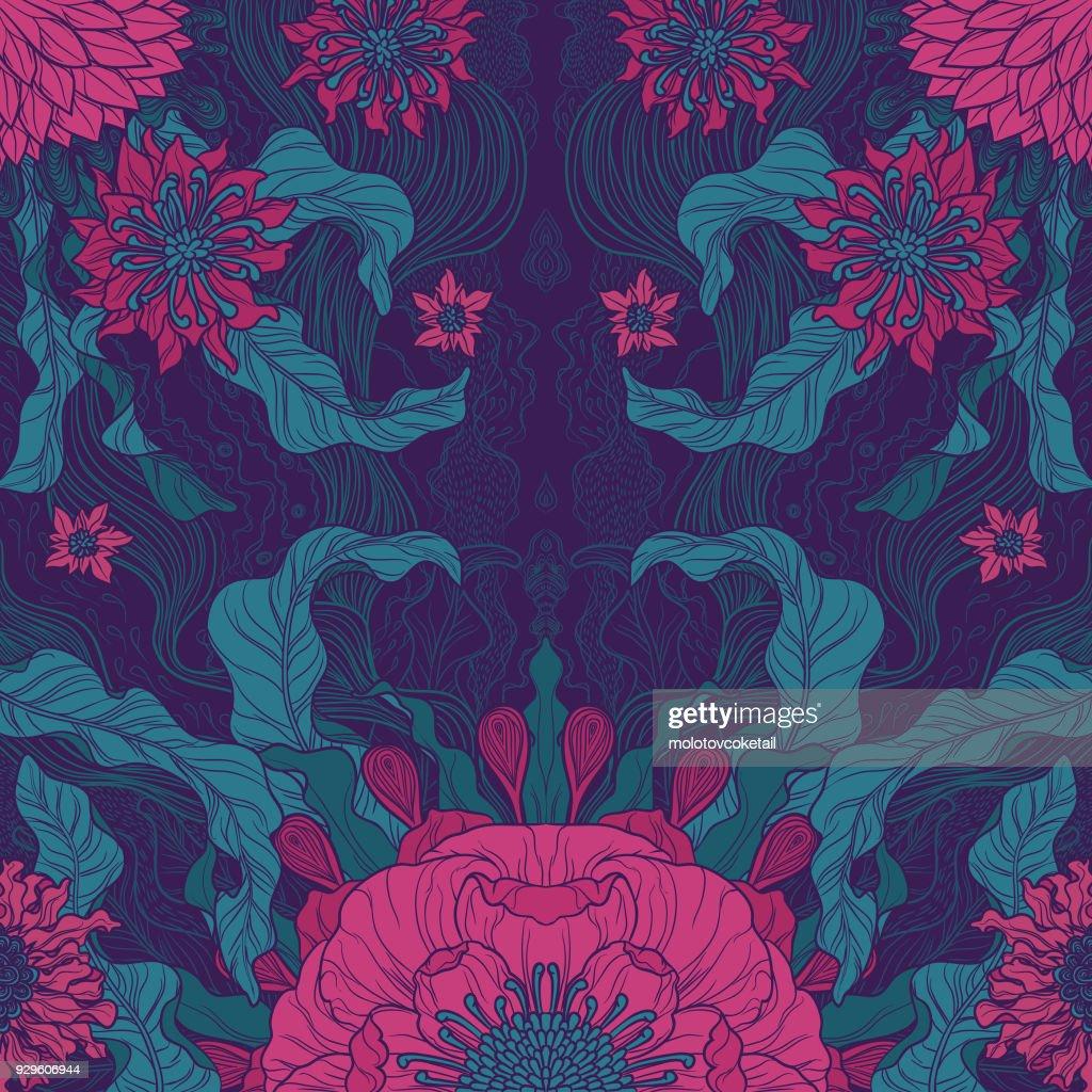 elegance brush painted floral motif design in green & magenta : Illustrazione stock