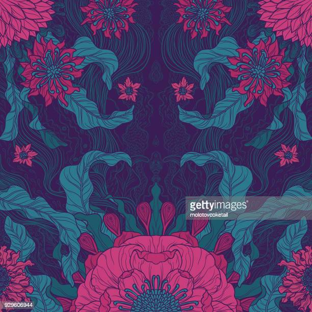 elegance brush painted floral motif design in green & magenta - art stock illustrations
