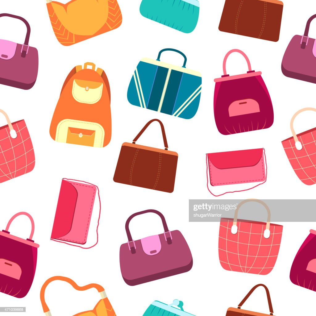 elegance fashion handbags and bags in flat seamless pattern concept