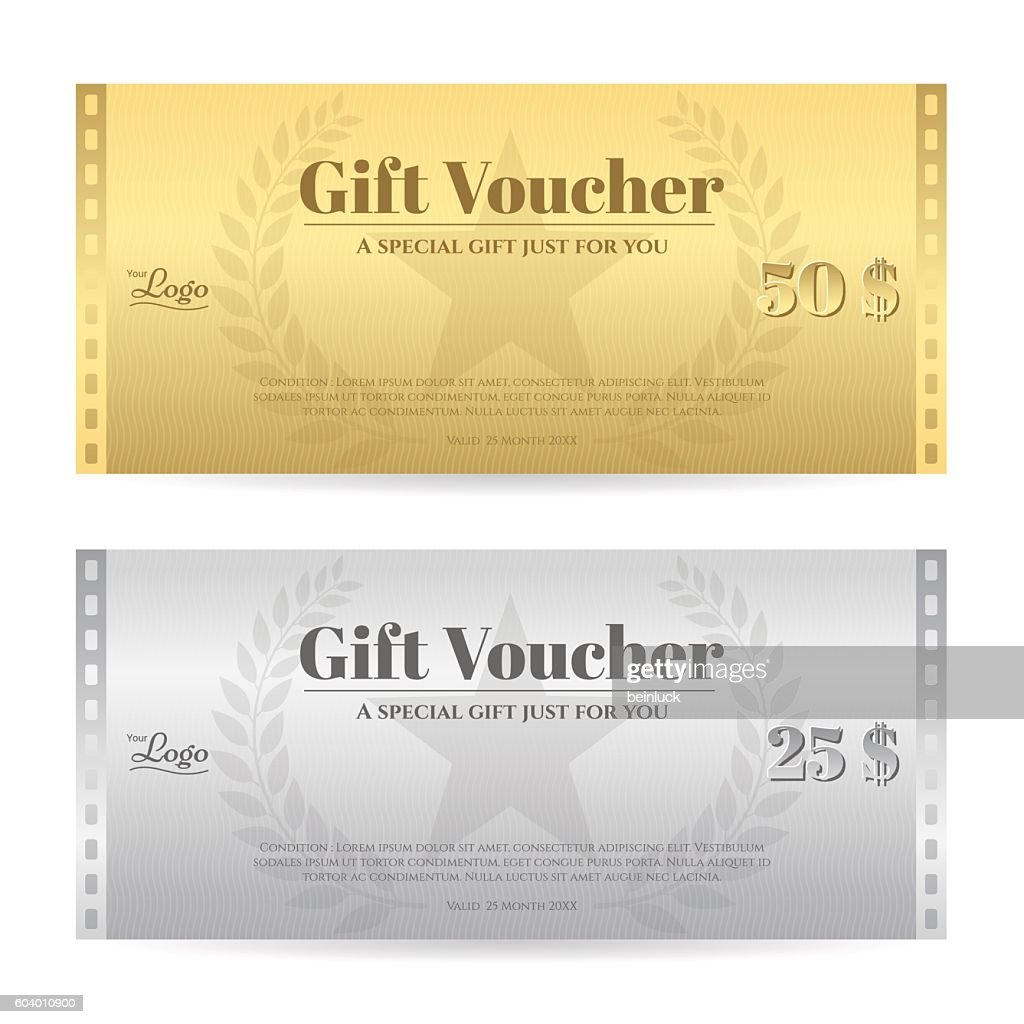 Elegance gift voucher or gift card in movie theme