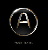 Elegance modern trendy stylish circular shaped brandswith metallic color A initial based letter icon.