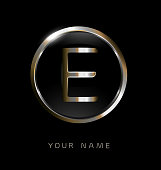 Elegance modern trendy stylish circular shaped brandswith metallic color E initial based letter icon.