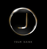 Elegance modern trendy stylish circular shaped brandswith metallic color J initial based letter icon.