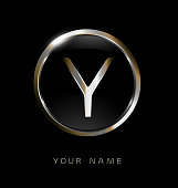 Elegance modern trendy stylish circular shaped brandswith metallic color Y initial based letter icon.