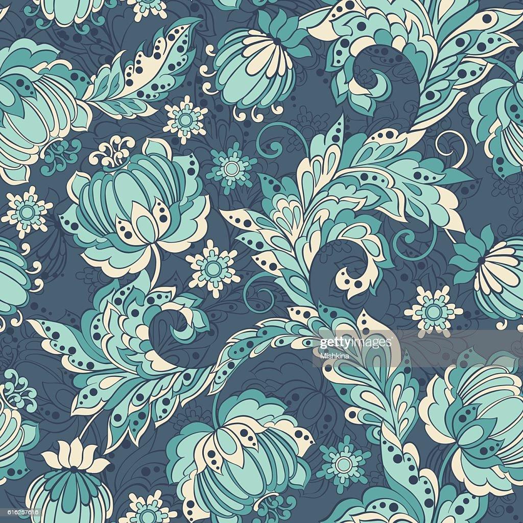 Patrón sin costuras étnico elegancia con flores, ilustración vectorial de flores : Arte vectorial