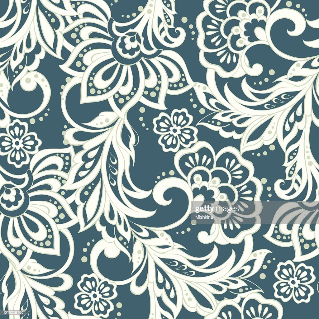 Elegance seamless pattern with ethnic flowers. Vector Floral : Vector Art
