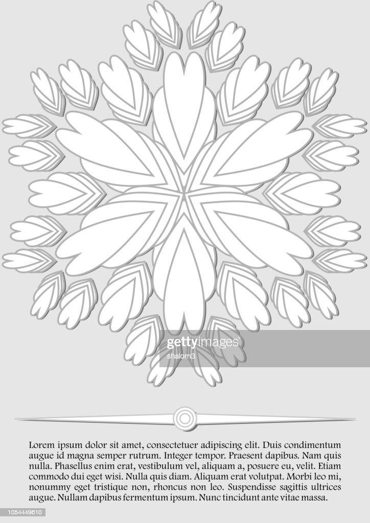 elegant abstract background, white fantasy flower shape on light gray background, low contrasting leaflet, flyer design in vintage style