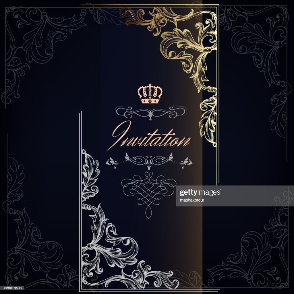 Elegant and luxury invitation card with swirls, crowns in gold
