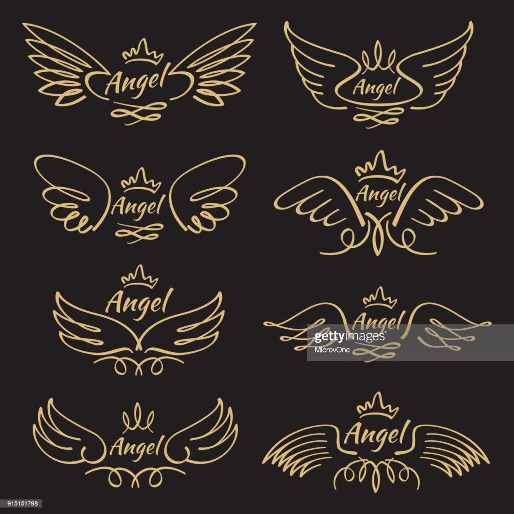 Elegant angel golden flying wings on black background