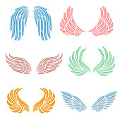 Elegant angel wings with long feather. Angelic symbols isolated vector set