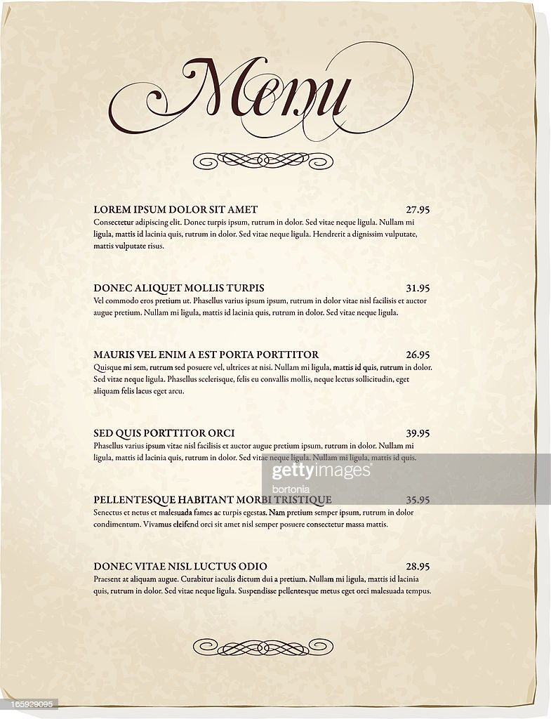 Elegant Antique Menu