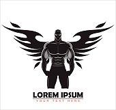 Elegant artistic bodybuilder silhouette.