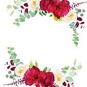 Elegant autumn round floral bouquet vector design frame